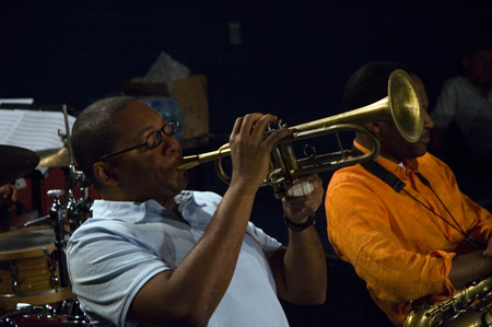 Wynton rehearsing with his Quintet for Marciac Jazz 2008