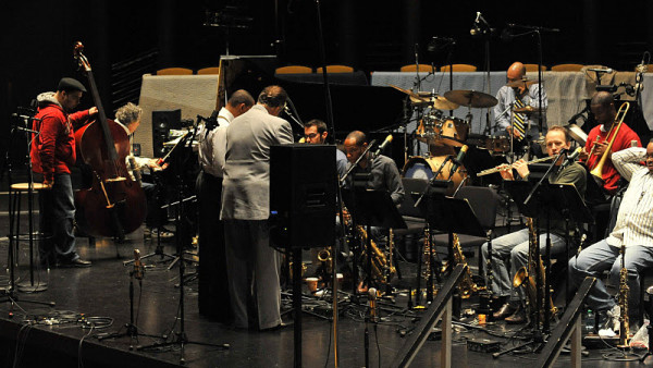 JLCO with Wynton Marsalis in rehearsal with Chick Corea for their upcoming recording session