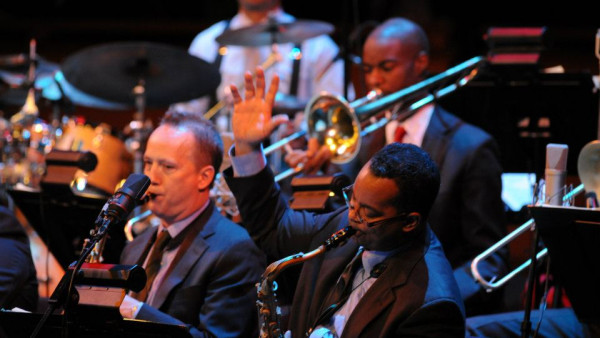 "JLCO with Wynton Marsalis performing ""A New Holiday Revue"" concert in New York"