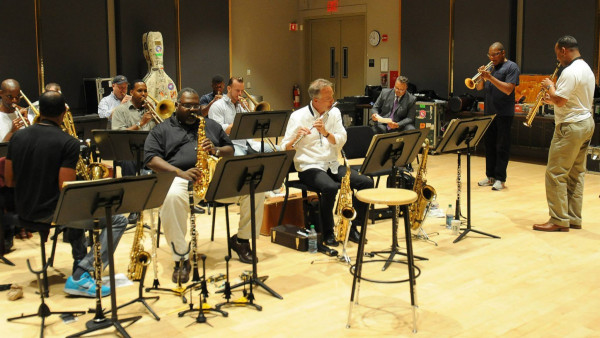 JLCO with Wynton Marsalis in rehearsal for concert at Martha's Vineyard