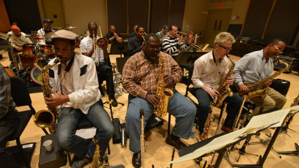 JLCO with Wynton Marsalis in rehearsal for Ezra Jack Keats Family Concert