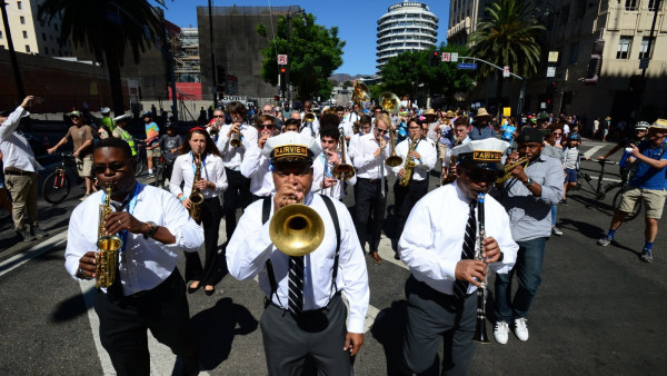 "JLCO with Wynton Marsalis leading a ""Second Line"" in Los Angeles"