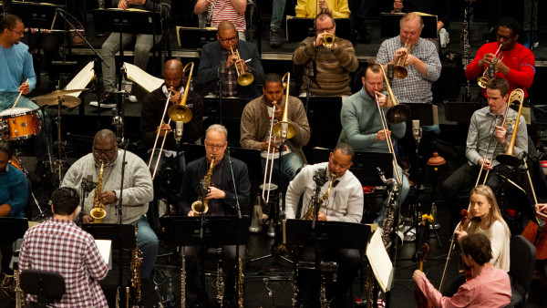 JLCO with Wynton Marsalis in rehearsal with The National Symphony Orchestra of Romania