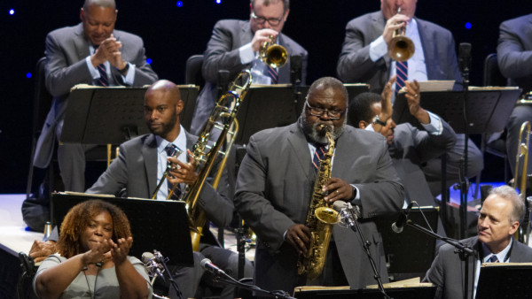 The JLCO with Wynton Marsalis performing in Shenzhen, China