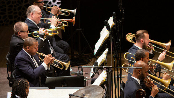 The JLCO with Wynton Marsalis performing in Hamburg, Germany