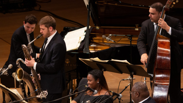 The JLCO with Wynton Marsalis performing in Katowice, Poland