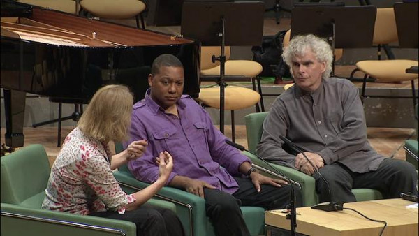 Wynton discussing Swing Symphony with Simon Rattle