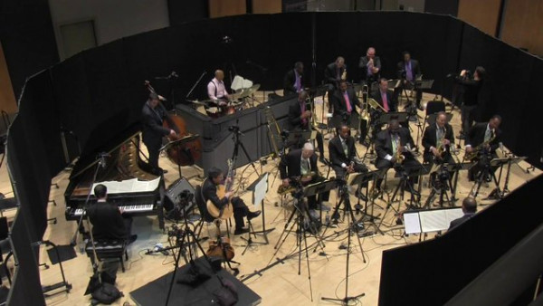 "Jazz at Lincoln Center Orchestra with Wynton Marsalis recording ""Uptown Downbeat"""
