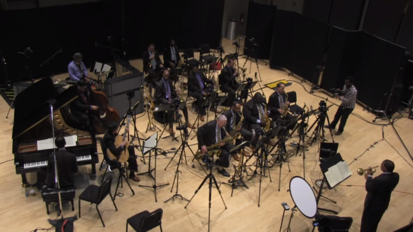 "Jazz at Lincoln Center Orchestra with Wynton Marsalis recording ""Echoes of Harlem"""