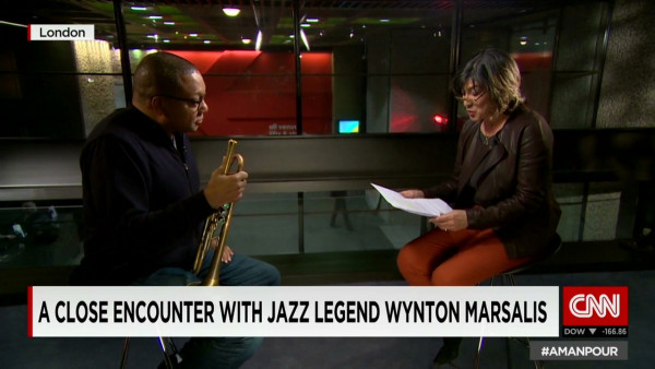 Wynton Marsalis talking to Christiane Amanpour