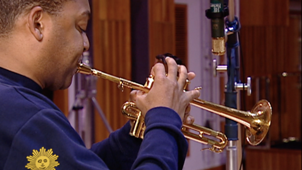 "Wynton Marsalis recording ""Abblasen"" for CBS Sunday Morning"