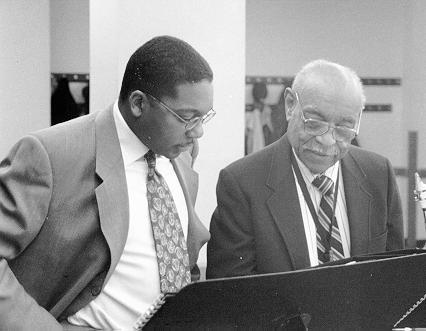 Benny Carter and Wynton Marsalis at Jazz at Lincoln Center, March, 1996