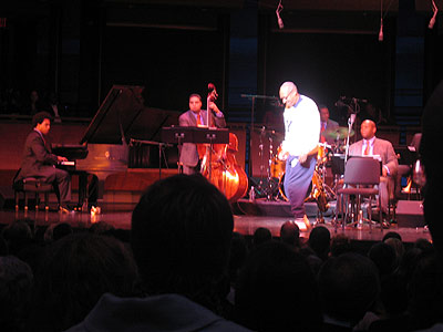 Bill Cosby on the stage with Wynton and the LCJO