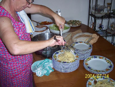 Mrs Antonietta preparing italian lunch for Wynton and the boys in Manfredonia
