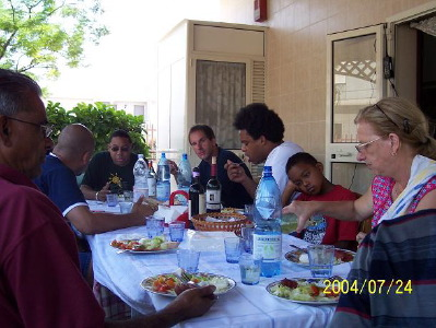 Lunch time for Wynton, the boys, me and my parents in Manfredonia