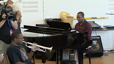 Wynton Marsalis and Victor Goines giving masterclass at Marciac 2007