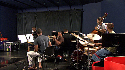 Wynton Marsalis rehearsing with his Quintet and Jared Grimes