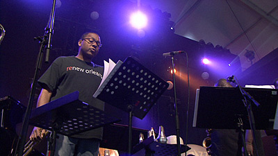 Wynton Marsalis during the soundcheck with his Septet for the concert in Marciac 2007