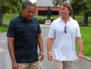 Wynton and John Besh while shooting Iconoclasts episode in New Orleans