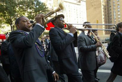 Wynton and Ron Westray lead the Second line parade