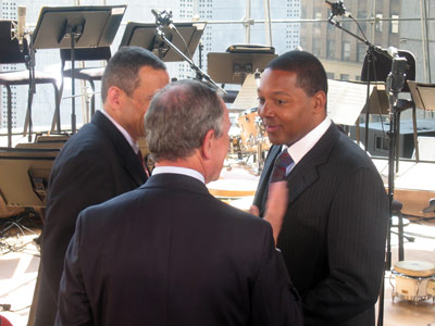 Derek Gordon, Michael Bloomberg and Wynton Marsalis