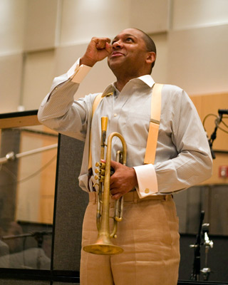 Wynton Marsalis during the recording of The War soundtrack