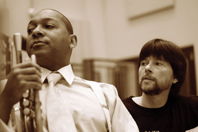 Wynton Marsalis and Ken Burns during the recording of The War soundtrack