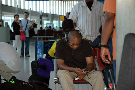 Wynton waits at Charles de Gaulle airport in Paris